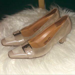 Vintage Salvatore Ferragamo suede heels